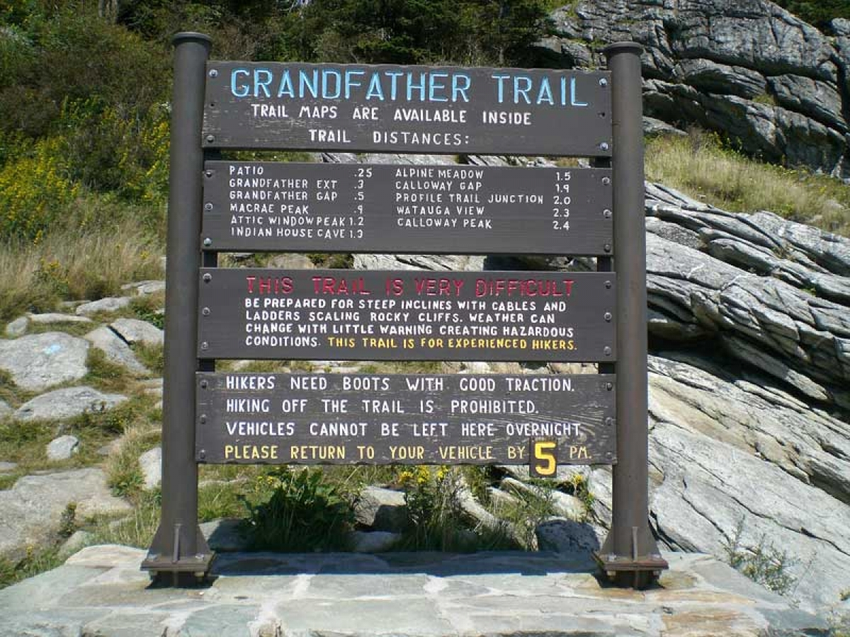 Grandfather Mountain Trail from the Front Country